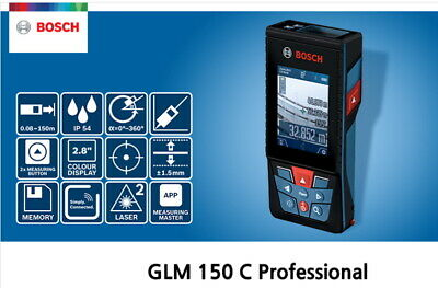 Bosch Glm 150 Laser Distance Meter 150m Ip54 30 Memory 1.0mm Accuracy Free Ups