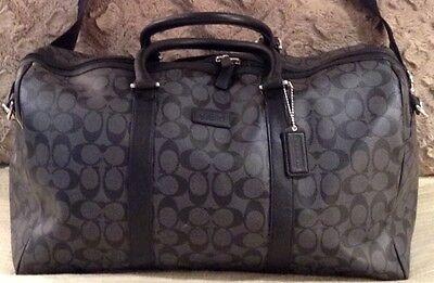COACH HERITAGE SIGNATURE CHARCOAL BLACK DUFFLE BAG SIMILAR TO COACH EXPLORER BAG