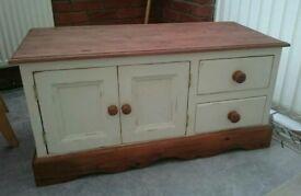 Farmhouse, Shabby Chic, Country Cream, Dark Wax Pine TV Cabinet/Stand/Unit