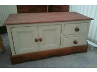 Farmhouse, Shabby Chic, Country Cream, Dark Wax Pine TV Cabinet/Stand/Unit