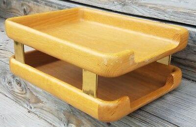 Vintage 1985 Tiered Eldon Woodline Desk Tray File Folder Holder Organizer