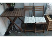 Garden wooden table and two seats
