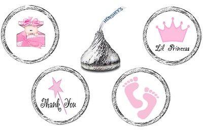 108 (27 ea of 4 designs) LITTLE PRINCESS BABY SHOWER Kisses Label Stickers Favor (New Little Princess Baby Shower)