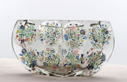 Pillow shaped vase with enamelled flowers in individual cut circles  [12084]