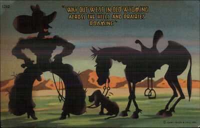 Cowboy Silhouette Comic Horse & Doggy on Prairie Linen Postcard