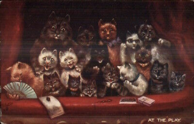 Louis Wain Cat Fantas AT THE PLAY TUCK 9396 c1910 Postcard jrf