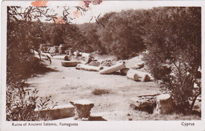 CYPRUS POSTCARD RUINS OF ANCIENT SALAMIS FAMAGUSTA VAHAN AVEDISSIAN EARLY 1950 s