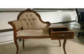 Antique telephone chair with attached table