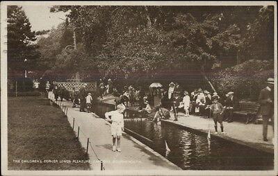 Bournemouth UK Children Miniature Sailboats  Lower Pleasure Gardens RPPC
