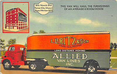 Kansas City MO L Leritz & Son Allied Van Lines Trucking Co. 1947 Linen Postcard