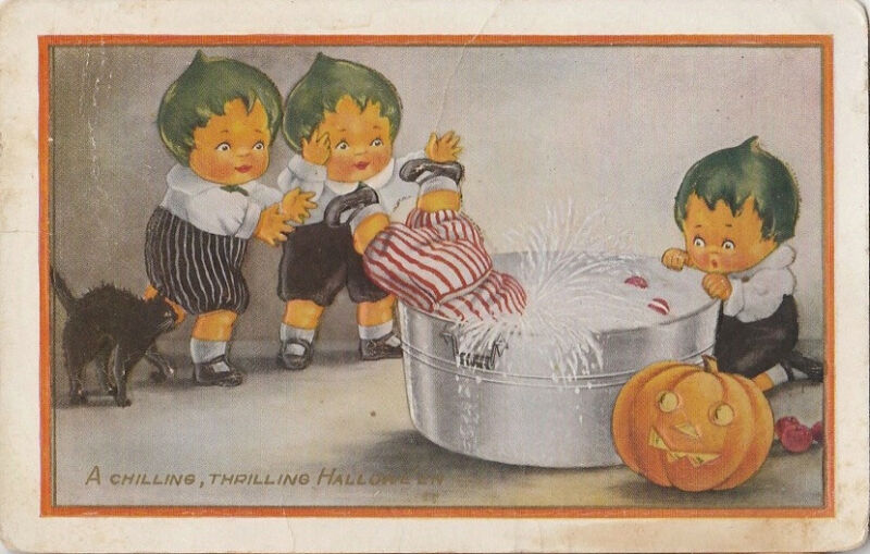S21.1076 Whitney Halloween Postcard Pumpkin Kids Cat JOL Washtub c. 1920