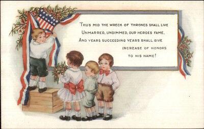 Whitney Patriotic - Children Decorate American Flag Bunting c1915 Postcard