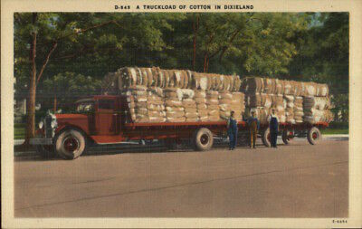 Old Red Tractor Trailer Truck Cotton in Dixieland Linen Postcard