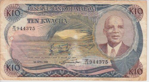 Malawi Banknote P21b-4375 10 Kwacha 1.4.1988, Prefix M/19, VG-F