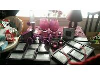 Large bundle of Purple items, Lava lamp. lamp, Flowers, vases, candles , holders and pic frames