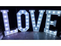 Giant LED 4ft Love letters Sweet Cart Ferrero rocher stand for hire