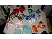 GIRLS/LADIES HAND MADE BOWS MADE OF THE CUSTOMERS CHOICE LARGE TO SMALL AND DIF COLOURS