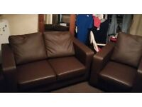 2 Seater Chocolate Brown Faux Leather Sofa + 1 Single armchair for sale £75 for the set