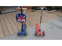 Mini micro Scooter x 2 Blue Pink Girl Boy Age 3 - 6