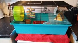 hamster gerbil cage with lots of accessories