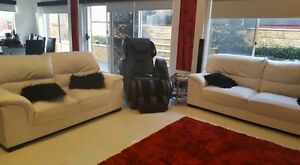2 x White leather Sofa lounges Craigmore Playford Area Preview