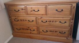 Wooden drawers, detail on ends and drawers, dovetail joints on drawers.