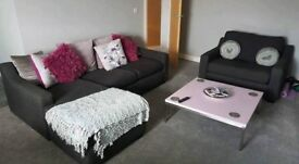 SOFA AND CHAIR IN CHARCOAL GREY