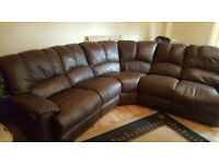 Brown Leather Double Reclining Corner Sofa