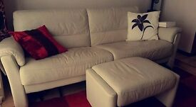 3-Seater Cream Leather Sofa. Arm chair & Pouffe