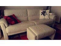 3-Seater Cream Leather Sofa. Arm chair & Pouffe