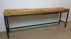 Industrial benche, reclaimed timber, steel frame, handmade.