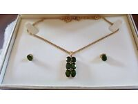9crt gold chain 18 inch long with pendant and matching earrings