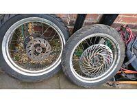 Aprilia sx 50 2008 wheels with tyres. nearly brand new tyres