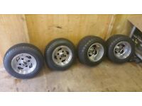 Road legal 10 inch Quad alloy wheels x 7 all with almost new tires 110pcd