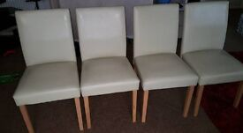 4 Cream Dining room chairs with wooden beech legs