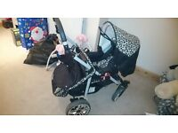 Leopard print adjustable Pram