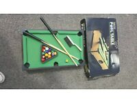 Table top Poole Table with balls, cues, brush, chalk etc. Immaculate Condition!