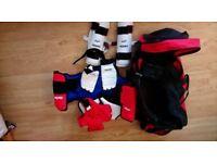 Nearly new Taekwondo bag and padding for sale
