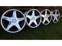 "17's Genuine alloys""AZEV C""4X100 width J8,5/J10 ET30/ET20 BMW E30/21,VW GOLF,BORA,MINI,CILO,CORSA"