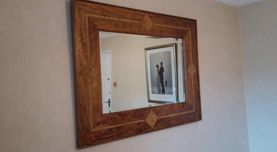 High Quality Wooden Mirror Mango Wood Flagstone Inlay Oak Furniture Dining Room Stone