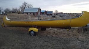 30 foot voyager canoe with boat trailer