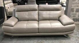 Harvey's grey leather 3 seater sofa