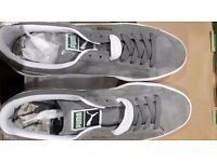 MENS NEW SUEDE PUMA CASUAL SHOES grey/white - twin set of laces