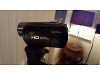 Hitachi Camcorder DZHV597E with tripod stand, SD card, charger and cases. NEW £40 the lot x