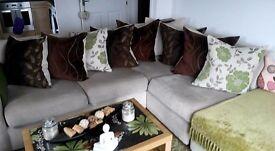 Large Cream L Shape Scatter Back Sofa