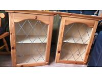 2 x Leaded Glass Kitchen Wall Cabinets