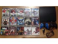 PS3 SLIM + 2 CONTROLLERS + 15 GAMES (GREAT CONDITION)