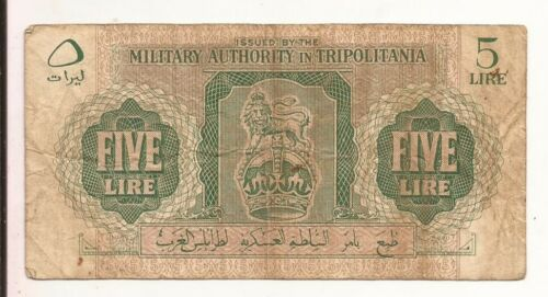 1943 Libya Military Authority in Tripolitania 5 Lire rare WWII note P3a