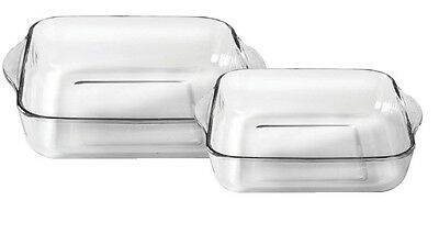 Ravenhead Set of 2 Glass Square Roasting Oven Dishes Lasagne Dish 24cm & 28cm
