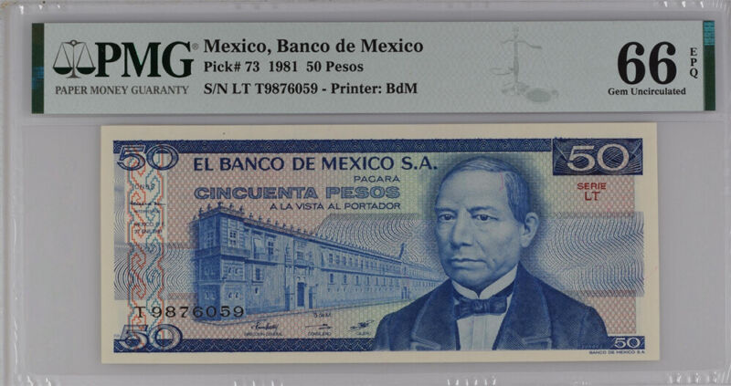 Mexico 50 Pesos 1981 P 73 Gem UNC PMG 66 EPQ Top Pop
